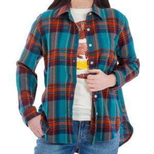 WRANGLER Retro Teal Rust Plaid Flannel Shirt